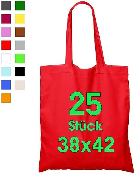 ELES VIDA 25 Bolsas de algodón, 38 x 42 cm, sin Estampar, Asas largas, Bolsa de Tela, Bolsa de algodón, Bolsa de Yute con Certificado Öko-Tex ®, Rojo, ...