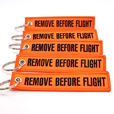 Rotary13B1 Remove Before Flight Keychain - NEON Orange/Black 5PCS: Automotive