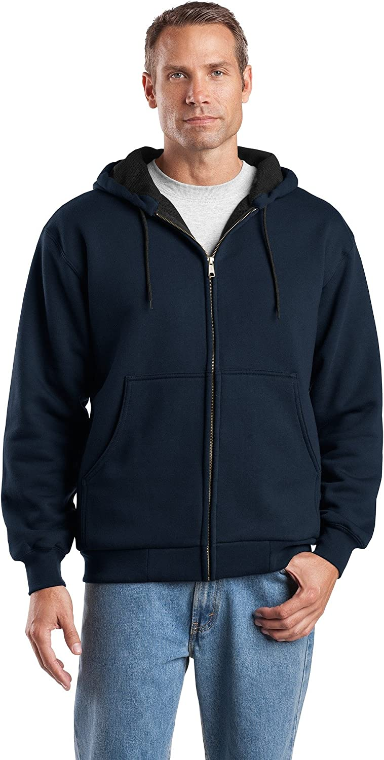 Cornerstone Mens Heavyweight Full-Zip Hooded Sweatshirt with Thermal Lining