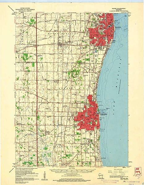 Racine Wisconsin Map.Amazon Com Yellowmaps Racine Wi Topo Map 1 62500 Scale 15 X 15