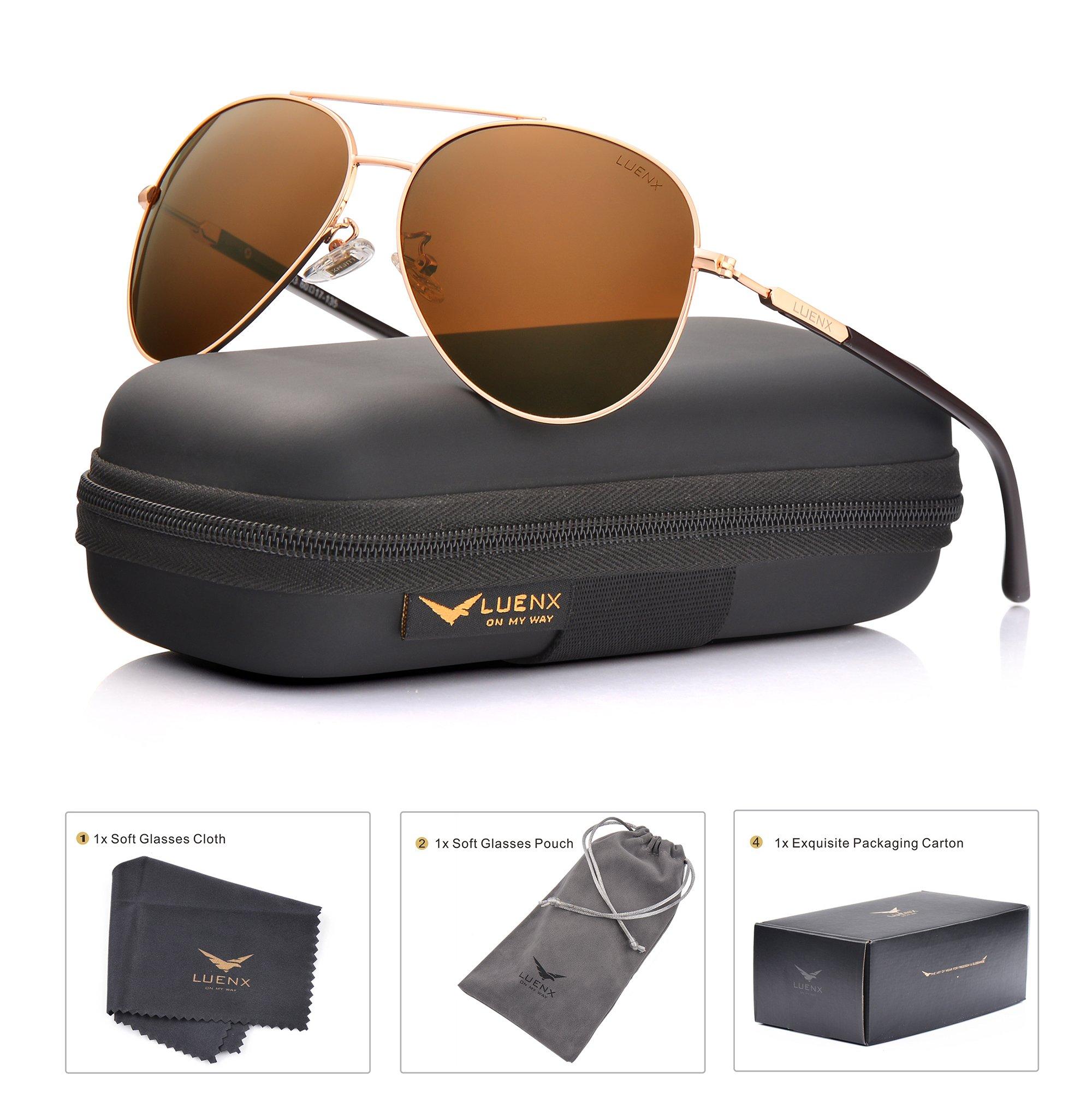 LUENX Aviator Sunglasses Mens Womens Polarized Brown Plastic Lens Gold Metal Frame Large 60mm