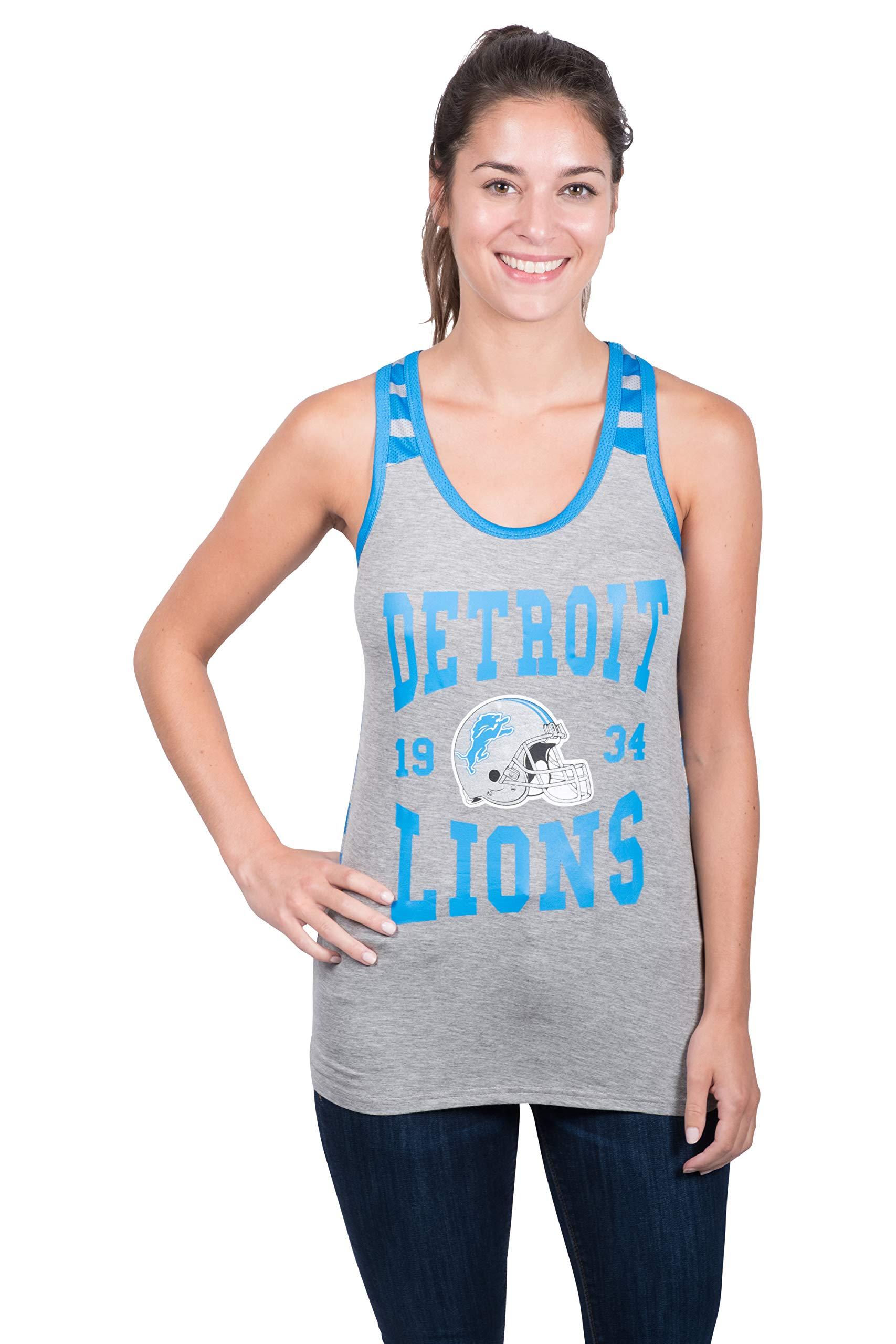 daa4c5d53e8 Galleon - Icer Brands NFL Detroit Lions Women s Jersey Tank Top Sleeveless  Mesh Tee Shirt
