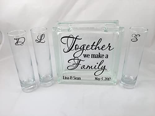 Personalized Blended Family Sand Unity Ceremony Set – Together We Make a Family – 3 pouring containers