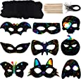 36 Sets Halloween Scratch Paper with Cat Pumpkin Bat Spider Design Scratch Masks, Elastic Cords and Wood Stylus for Halloween Costume Dress up Party Decorations