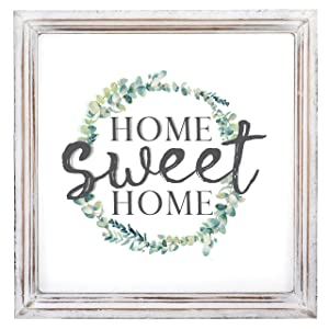 "Barnyard Designs Home Sweet Home Sign Rustic Primitive Country Home Decor Framed Wall Sign 13"" x 13"" x 1"""