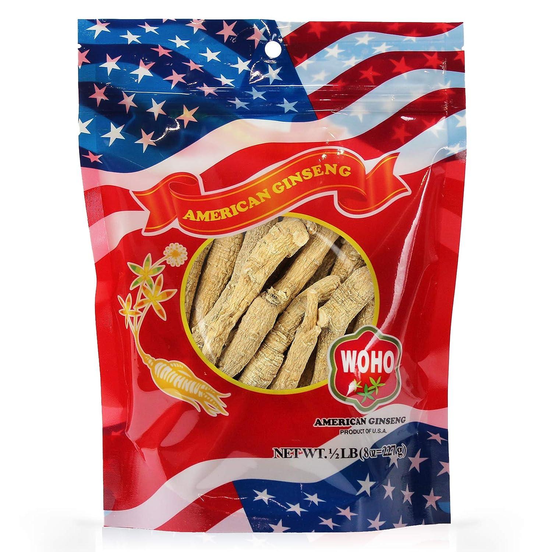 WOHO American Ginseng 102.8 Long Medium Roots 8 Oz Bag