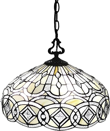 Amora Lighting AM295HL16B Tiffany Style Hanging Pendant Lamp 16 Wide Stained Glass White Jeweleds Beads Mahogany Antique Vintage Light Decor Restaurant Game Living Dining Room Kitchen Gift AM295HL16