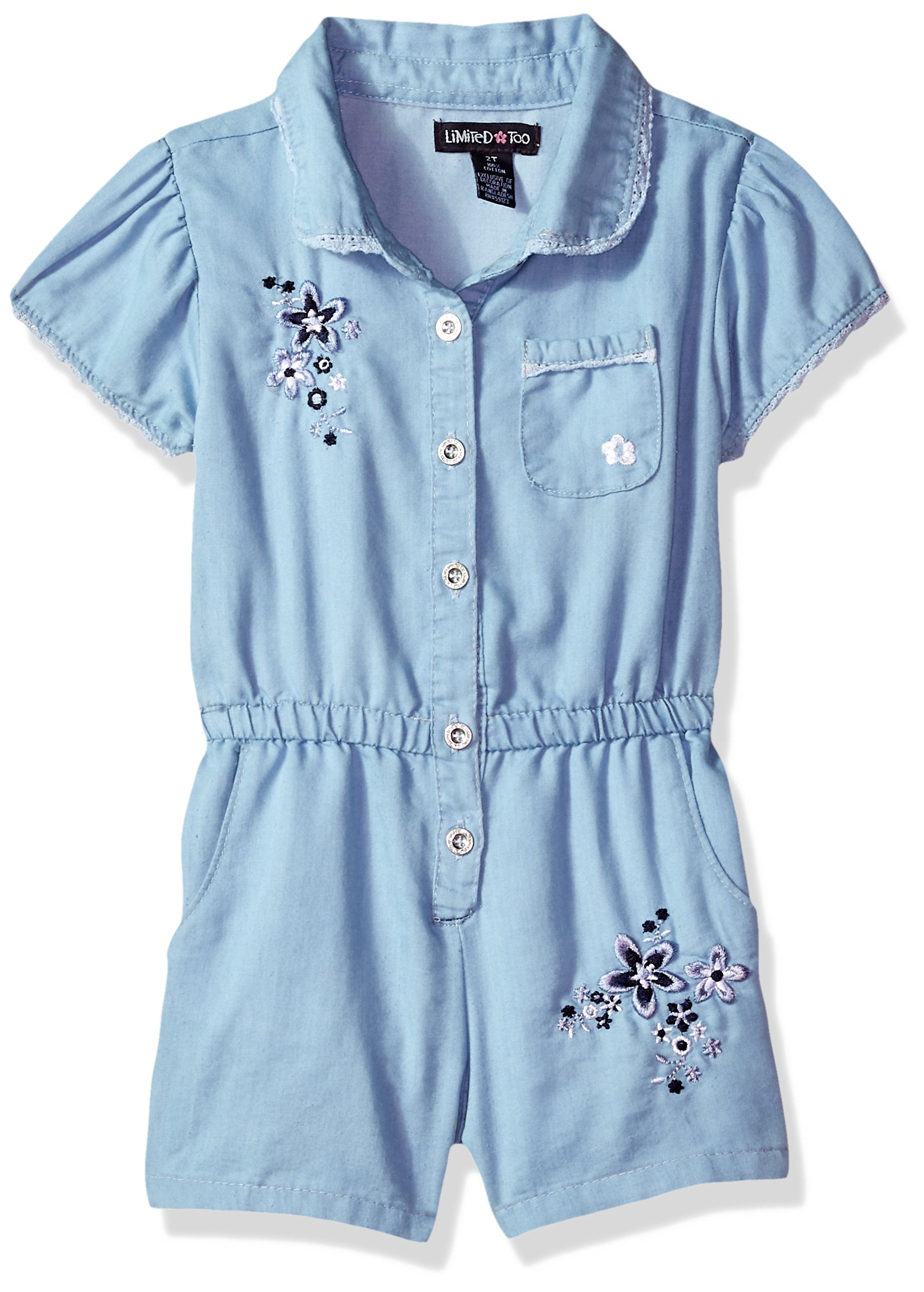 Limited Too Toddler Girls' Romper, Summer Flowers Light Blue Denim, 3T