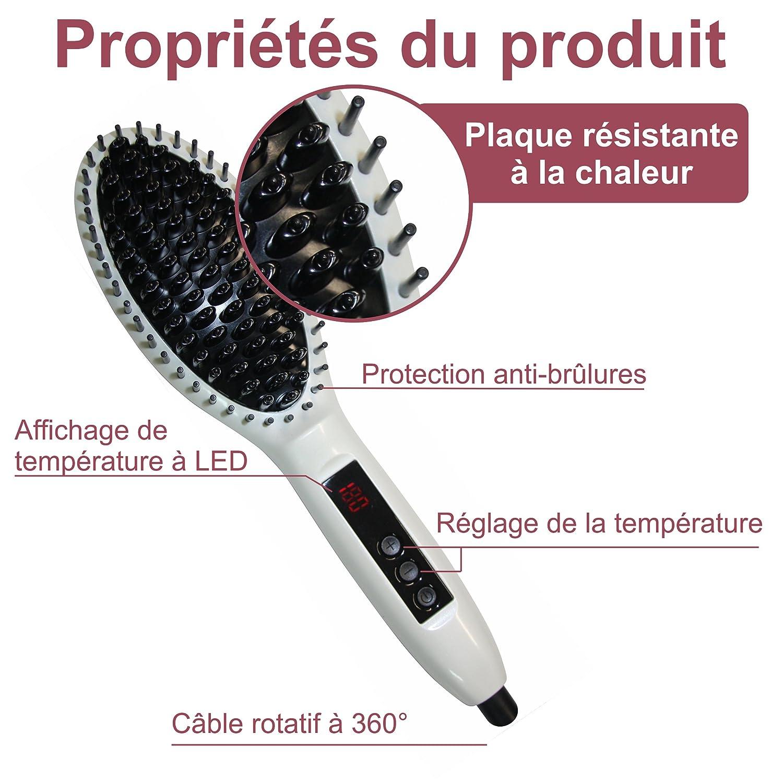 Cepillo alisador eléctrico con CE Alisadores de cabello Cepillo para el pelo Planchas alisadoras para cabellos largos con indicadores LCD, colores blanco: ...