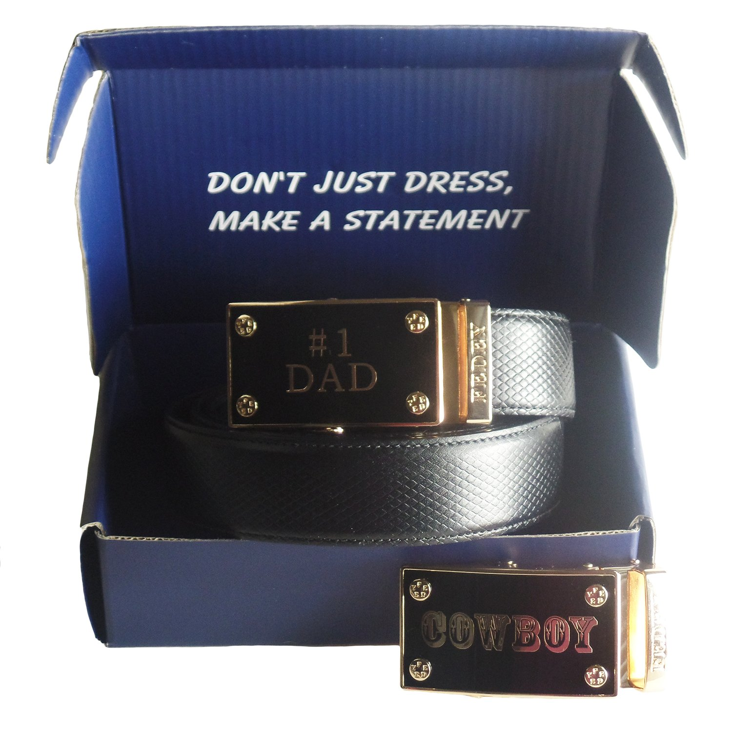 FEDEY Mens Gift Set with No 1 Dad Ratchet Belt and Xtra Cowboy Automatic Buckle