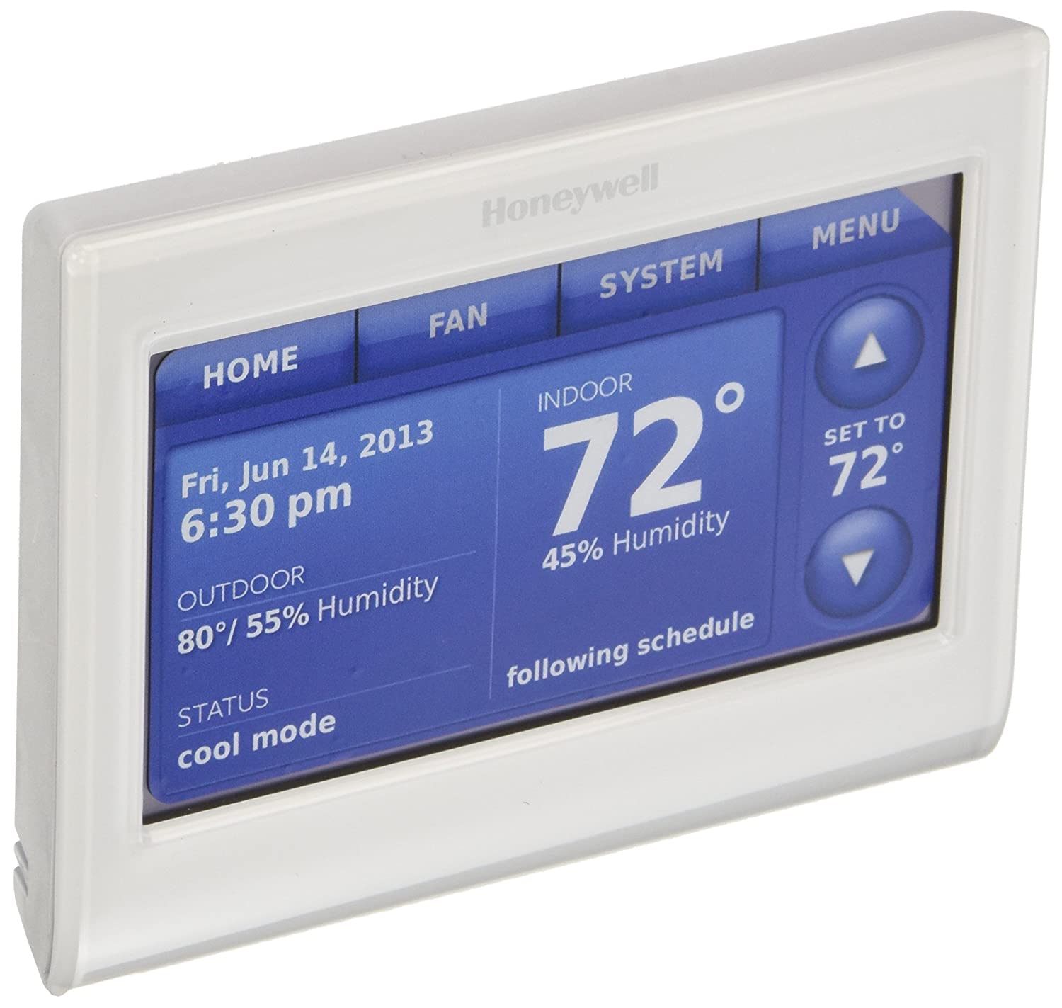 Honeywell THX9421R5021WW 2 Wire IAQ High Definition Touch Screen Thermostat  with Red LINK Technology, White - - Amazon.com