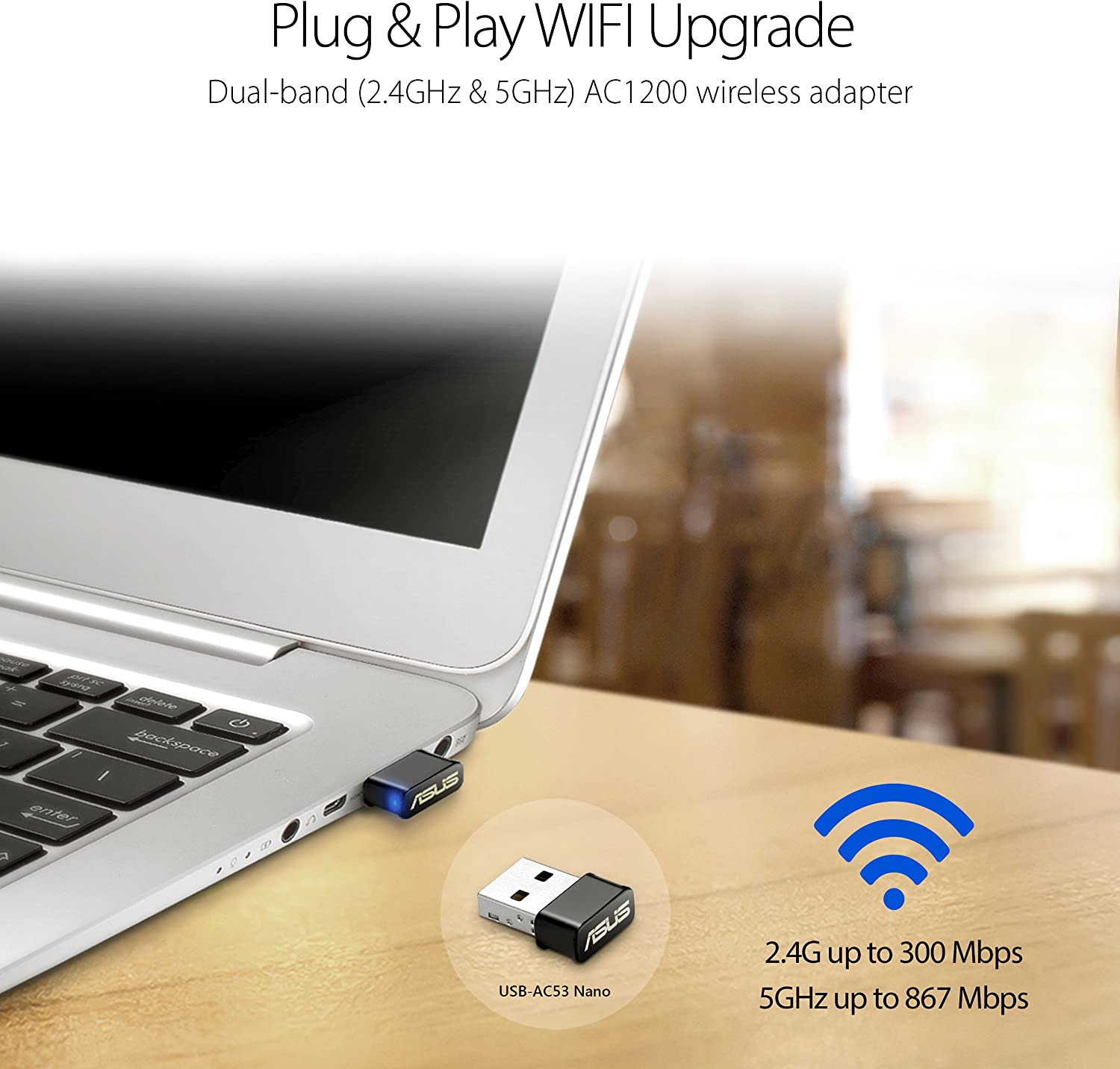 ASUS USB-AC53 AC1200 Nano USB Dual-Band Wireless Adapter, MU-Mimo, Compatible for Windows XP/Vista/7/8/1/10