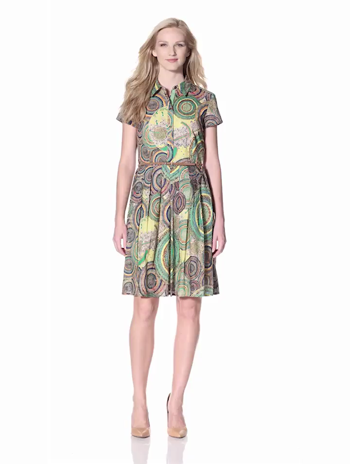 Ellen Tracy Womens Printed Shirt Dress with Belt, Orange Multi, 10