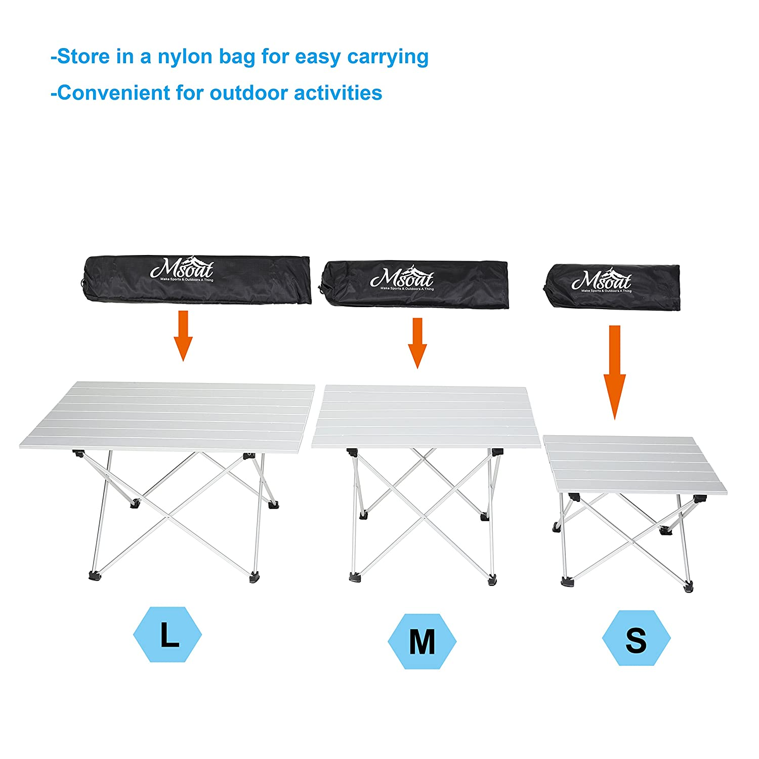 Folding Camping Collapsible Table Aluminum Foldable Portable Compact Ultralight Roll up Small Medium Large Size for Hiking Travel Outdoor Picnic BBQ Beach Garden Medium