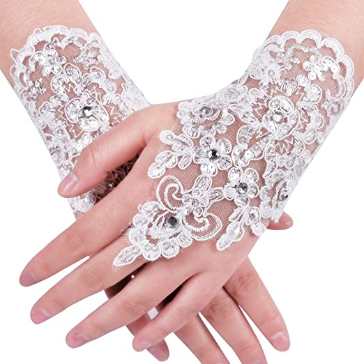 bb43c1cc301 Image Unavailable. Image not available for. Color  MisShow Lace Fingerless  Rhinestone Bridal Gloves ...