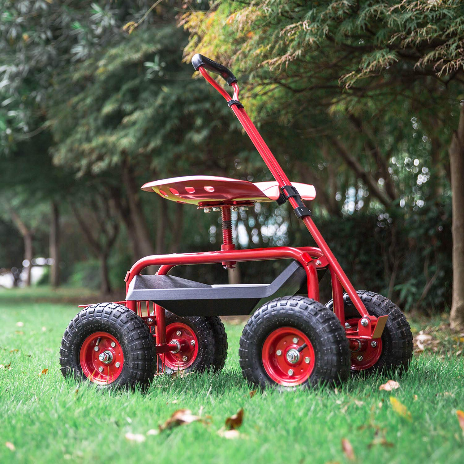 Peach Tree Garden Cart Rolling Work Seat Outdoor Utility Lawn Yard Patio Wagon Scooter for Planting Adjustable Handle 360 Degree Swivel Seat Red