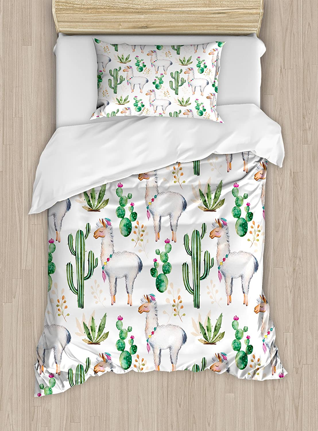 Ambesonne Cactus Duvet Cover Set, Hot South Desert Plant Cactus Pattern with Camel Animal Modern Colored Image Print, Decorative 2 Piece Bedding Set with 1 Pillow Sham, Twin Size, White Green