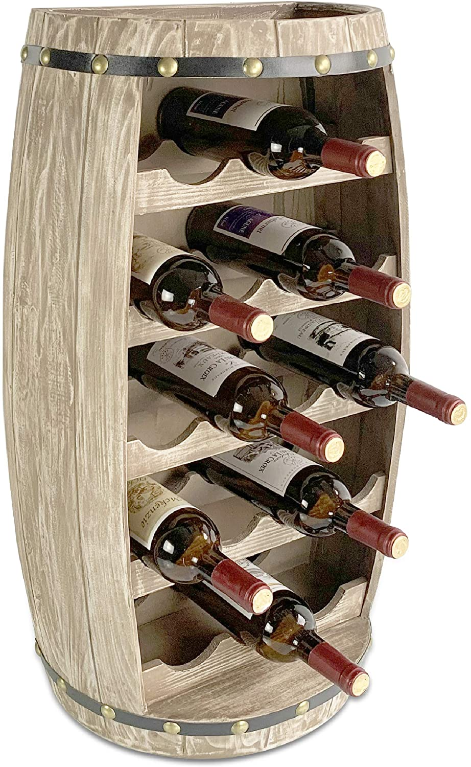 CoTa Global Modern Alexander Wall Mounted Wine Rack - 18 Wine Bottles Freestanding Wooden Barrel Wine Holder, Hanging Bottle Rack or Floor Stand, Wine Storage Shelf Organizer for Wine Bar, Home Decor