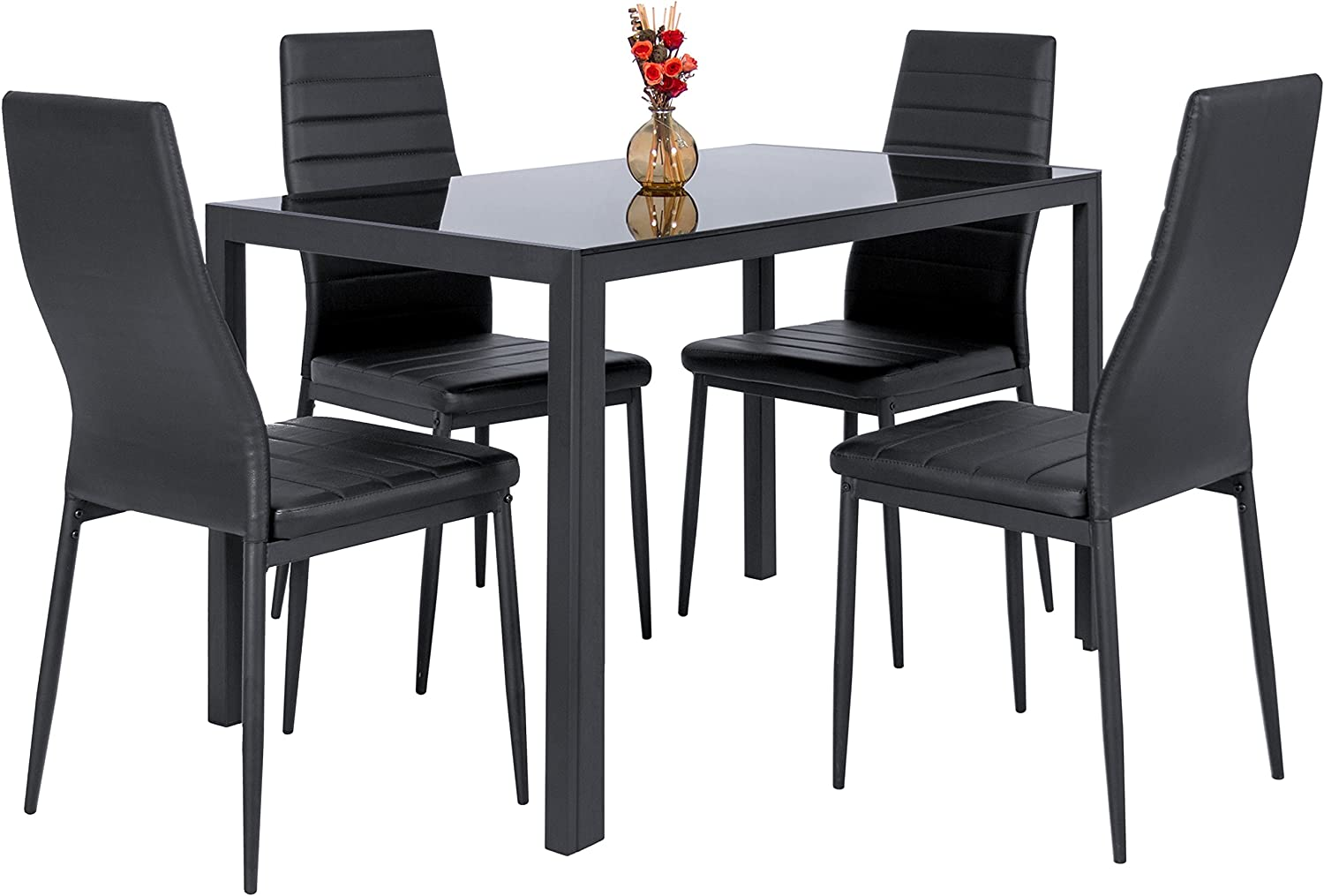 Best Choice Products 5 Piece Kitchen Dining Table Set W Glass Top and 4 Leather Chairs Dinette- Black
