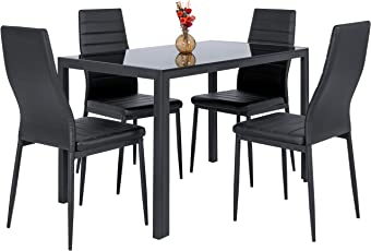 Best Choice Products 5 Piece Kitchen Dining Table Set W/Glass Top And 4 Leather  sc 1 st  Amazon.com & Table \u0026 Chair Sets | Amazon.com