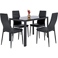Best Choice Products 5 Piece Kitchen Dining Table Set W/Glass Top And 4  Leather