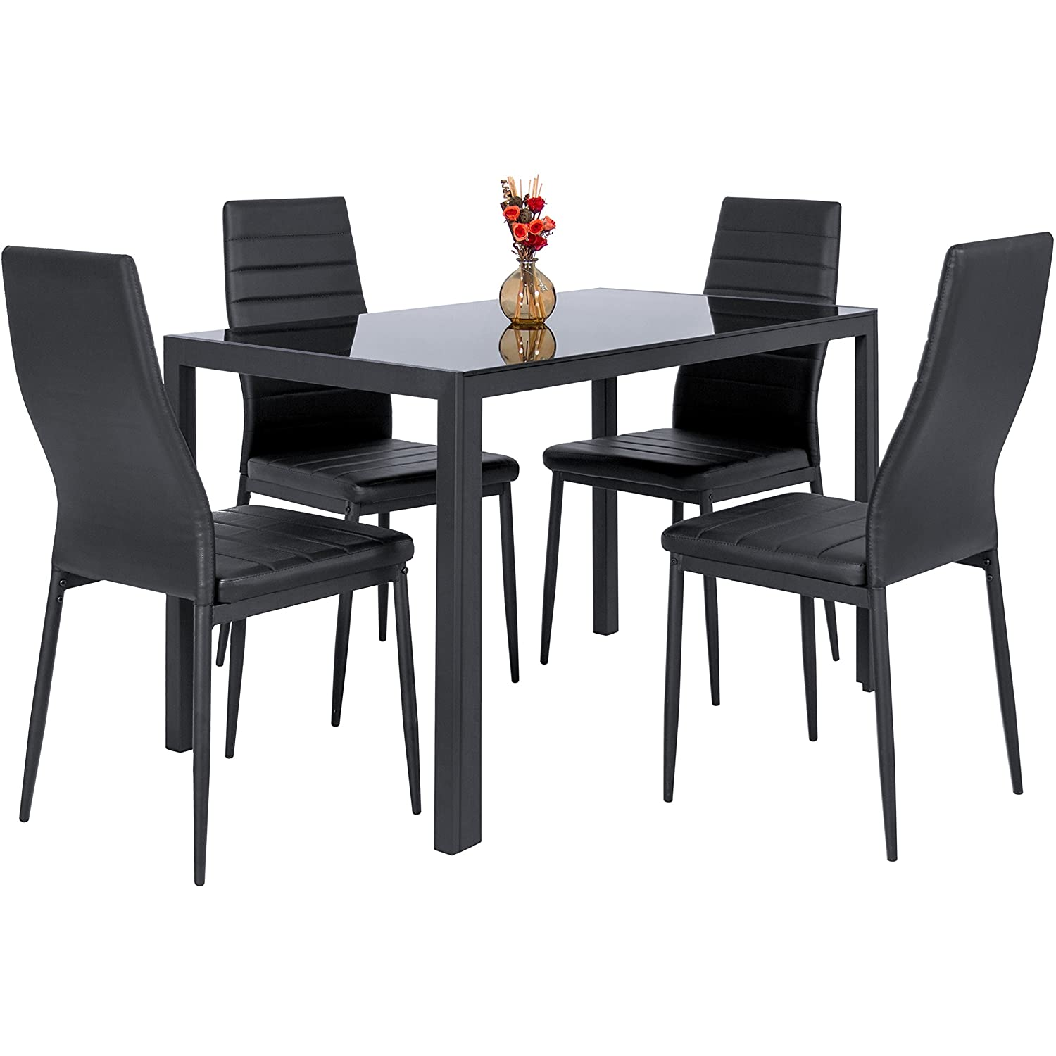 Dining table with chairs - Best Choice Products 5 Piece Kitchen Dining Table Set W Glass Top And 4 Leather Chairs Dinette Black