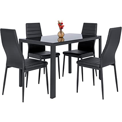 Best Choice Products 5 Piece Kitchen Dining Table Set W/Glass Top And 4 Leather  sc 1 st  Amazon.com : cheap black leather chairs - Cheerinfomania.Com