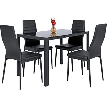 Best Choice Products 5 Piece Kitchen Dining Table Set W/ Glass Top And 4  Leather