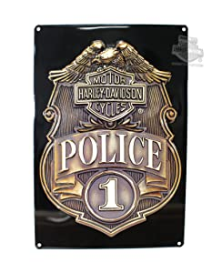 Harley-Davidson Police Shield Tin Metal Sign 17 x 12 Inches 2010161