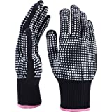 TecUnite 2 Pieces Heat Resistant Gloves Silicone Non-slip Gloves for Hair Styling Curling Iron, Fit All Hand Sizes