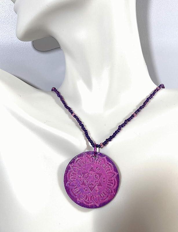Mandala Necklace Purple Mahogany Floral Pendant Jewelry Flower