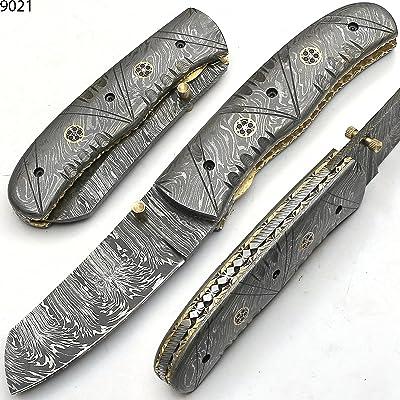 DAMASCUS BLADES AND KNIVES 9021Couteau Damas artisanale–Couteau pliant–Couteau de Camping–Couteau de poche Couteau de collection–avec fourreau en c