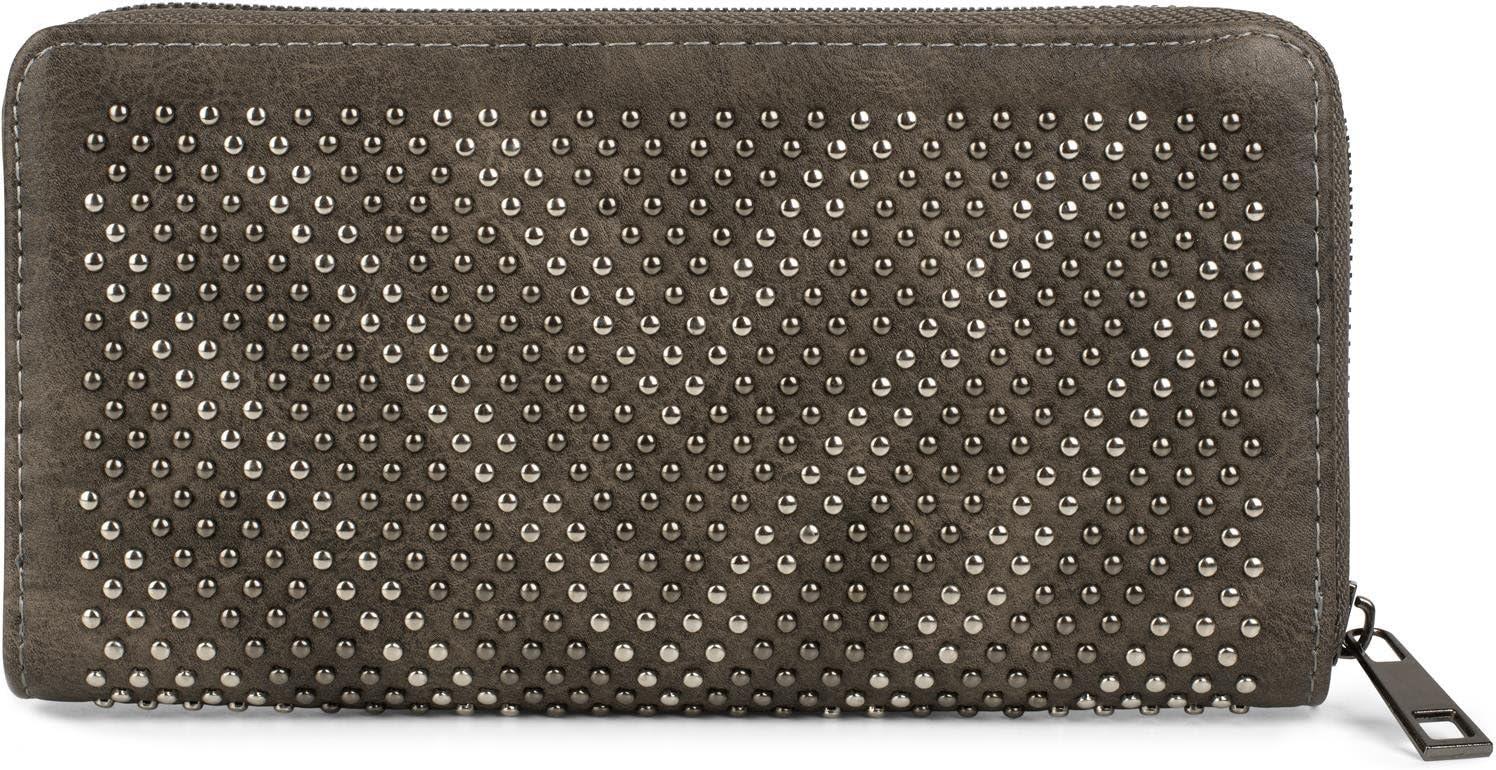 2 teintes couleur:Gris fonc/é portefeuille styleBREAKER porte-monnaie avec lettre V en rivets femme 02040084 fermeture /éclair