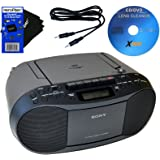 Sony CD Radio Cassette Recorder Bundled with AC Power Auxiliary Cable for iPods, iPhones, Smartphones, MP3 Players, Xtech CD Lens Cleaner & HeroFiber Ultra Gentle Cleaning Cloth