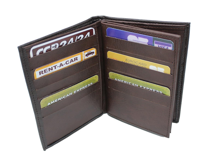 Frédéric& Johns® - Grand portefeuille très pratique avec 4 volets - 20 emplacements pour cartes - Papier voiture et identité -synthétique souple de qualité - homme ou femme - (chocolat)