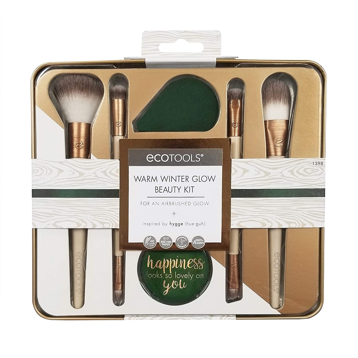 EcoTools Warm Winter Glow Make-up Brush Set with Storage Tin and Mirror Paris Presents Inc 1398