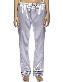Noble Mount Damen Klassich Pyjamahose aus Hochwertige Satin