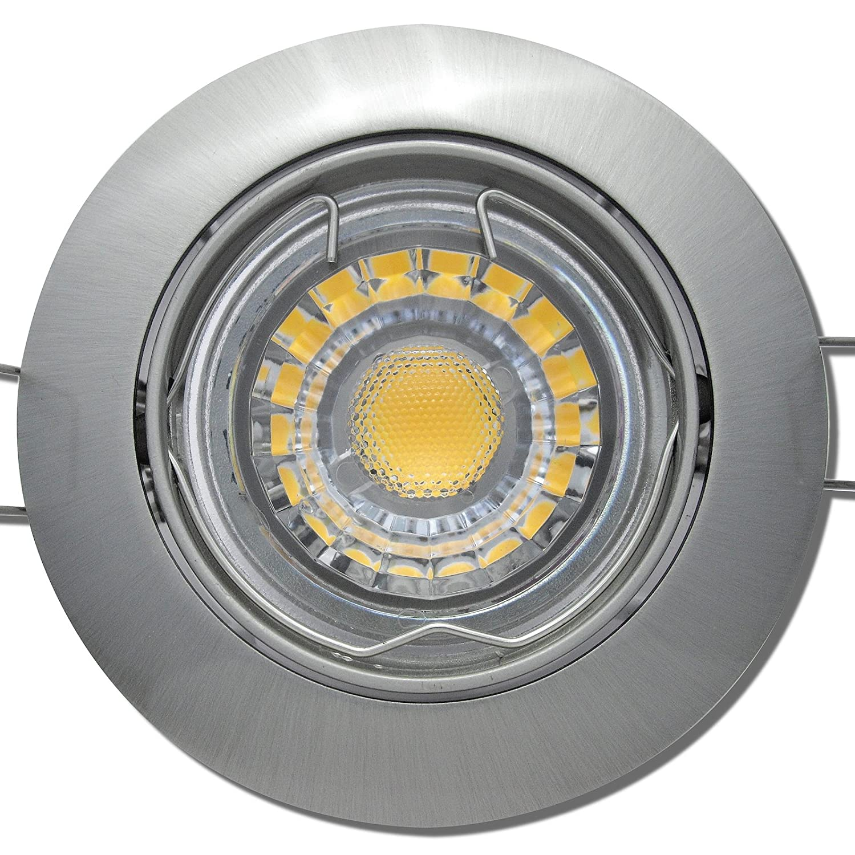 7 Stück MCOB LED Einbaustrahler Fabian 12 Volt 3 Watt Schwenkbar Edelstahl geb.   Warmweiß