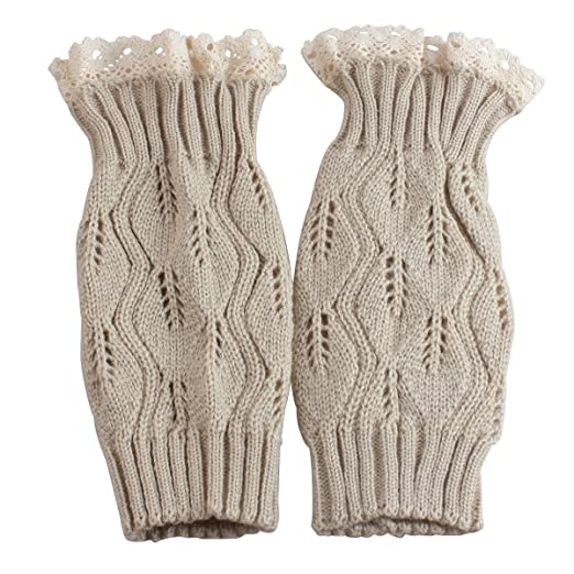4c770ebf92 Image Unavailable. Image not available for. Color  Leg Warmers for Women  Cable Knit Crochet Boot Cuffs Lace Knitted Boot Sock Cuffs