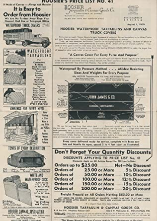 Hoosier Tarpaulin & Canvas Goods #41 Price List 1930s tents tarps