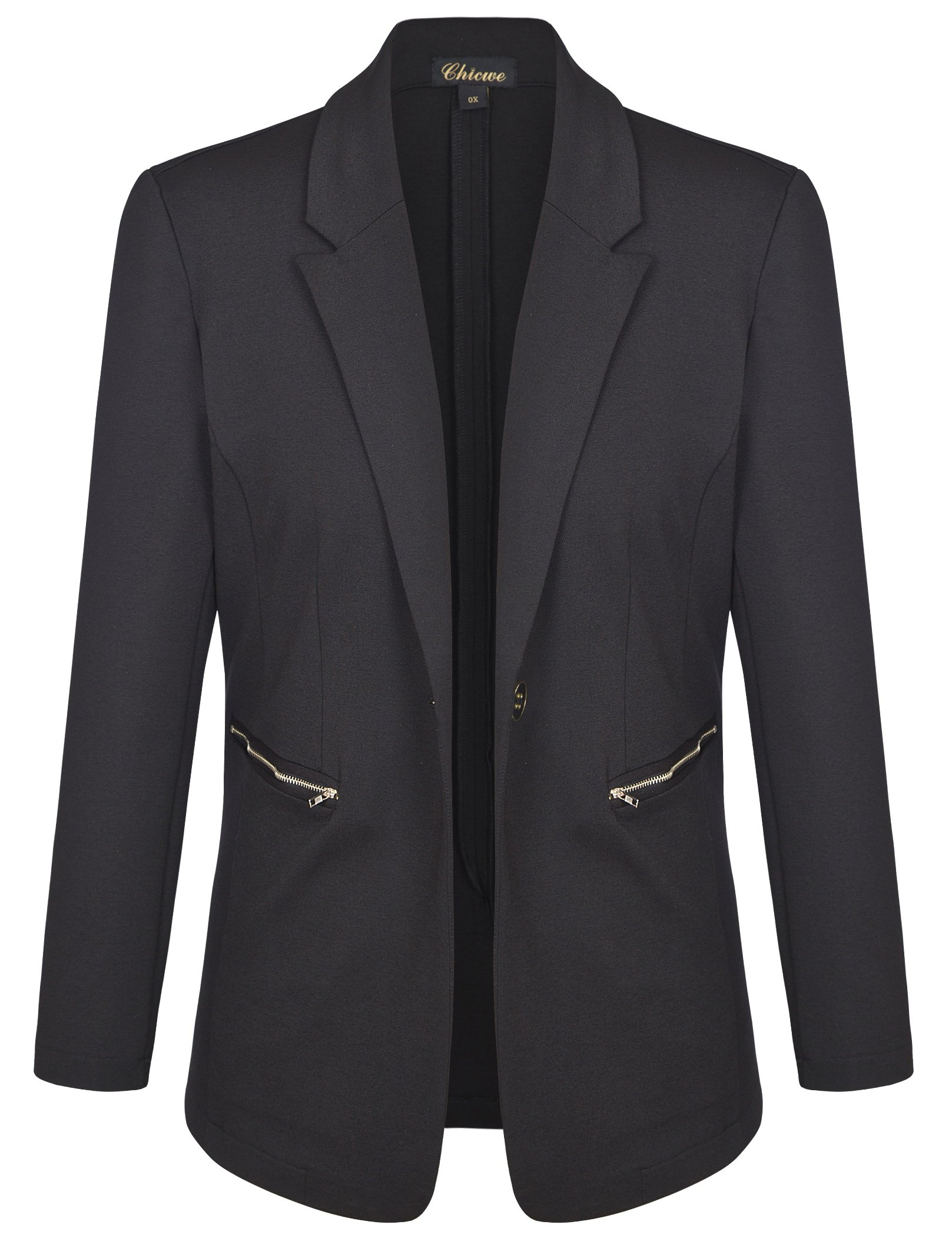 Chicwe Women's Plus Size Stretch Solid Work Blazer Suit Jacket with Metal Zipper 2X by Chicwe