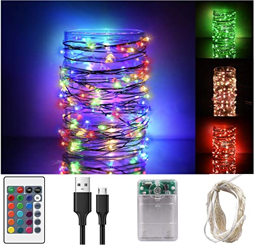 Libeder Led Fairy String Lights with Remote Room Decor Lights Indoor Outdoor Multi Colors Waterproof Lights for Bedroom Christmas Hallween Twinkle Lights 100 Led 33 FET