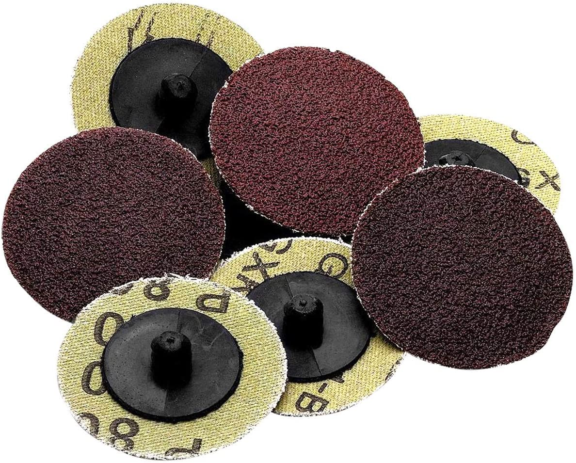 100Pcs 2 inch Roloc Type R Medium Grit Roll Lock Sanding Disc Abrasive Pads 36#