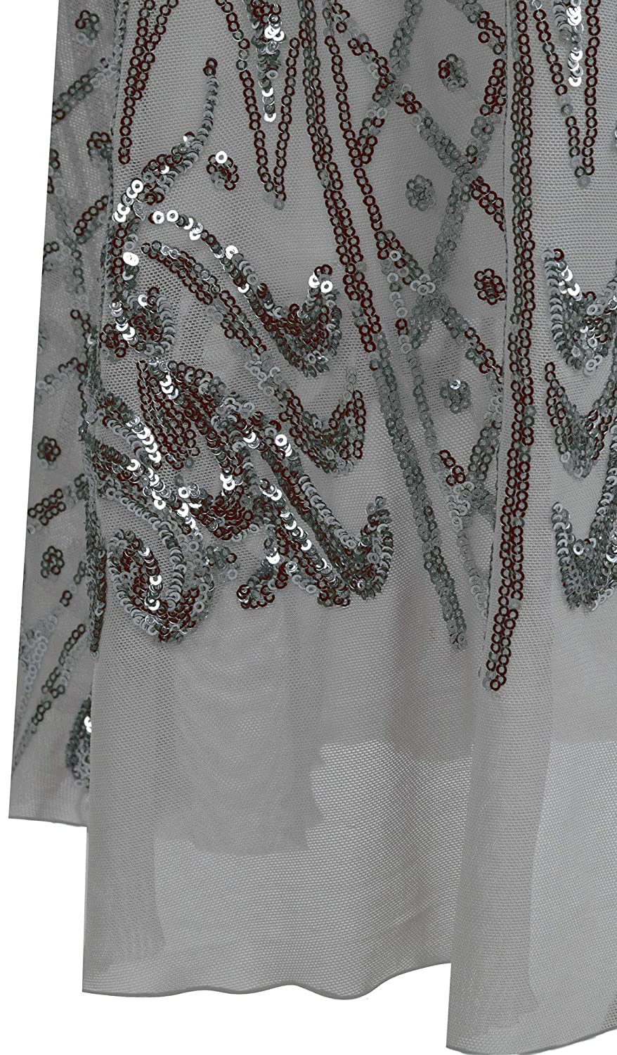 Angel-fashions Womens Square Collar Silver Sequin Floral Pattern Wrap Evening Dress