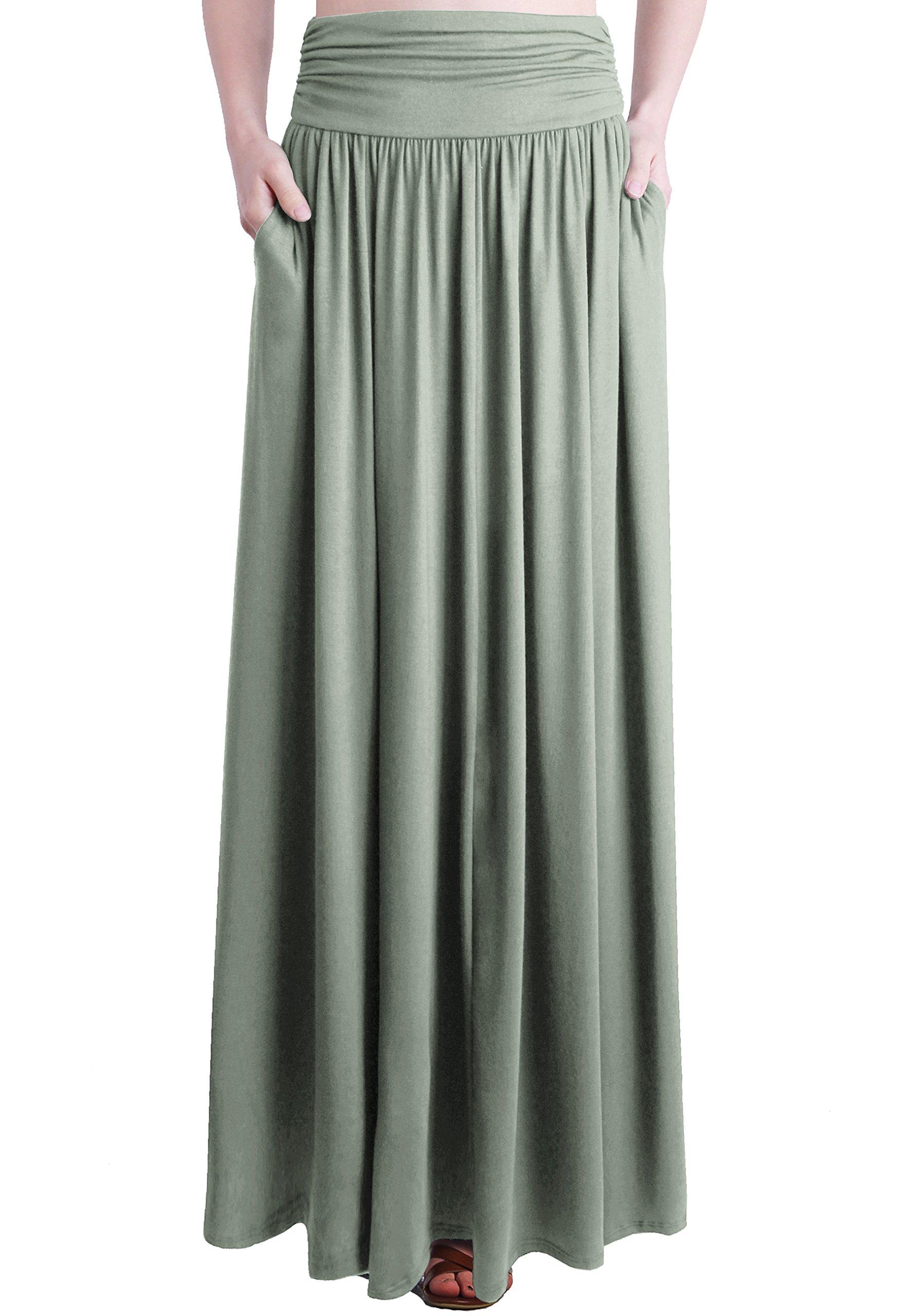 f8df6b65db Galleon - TRENDY UNITED Women's Rayon Spandex High Waist Shirring Maxi Skirt  With Pockets (DGRN, Large)