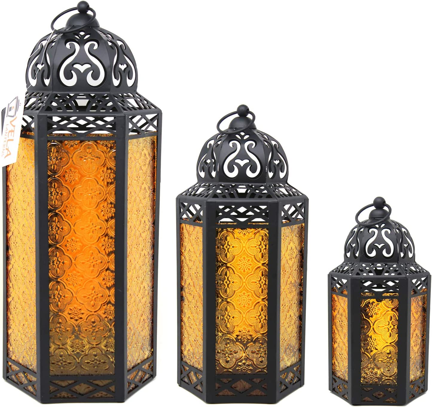 Moroccan Style Candle Lanterns, Amber Glass, Set of 3