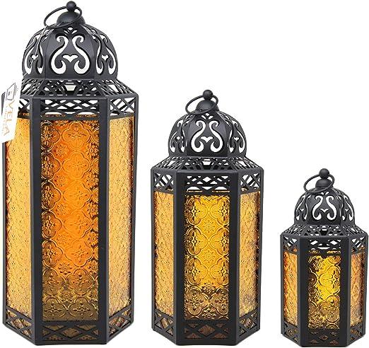 Set 3 Antique Vintage Style Moroccan Lantern Candle Holder Tea Light Garden Home