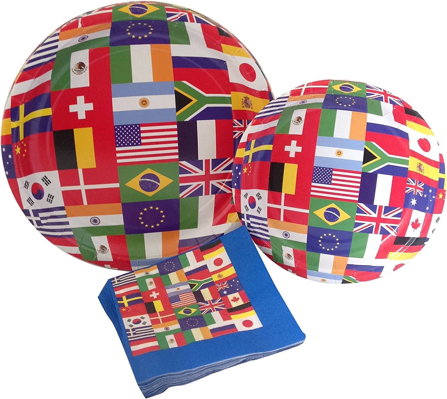 International World Flags Party Supply Pack! Bundle Includes Paper Plates & Napkins for 8 Guests