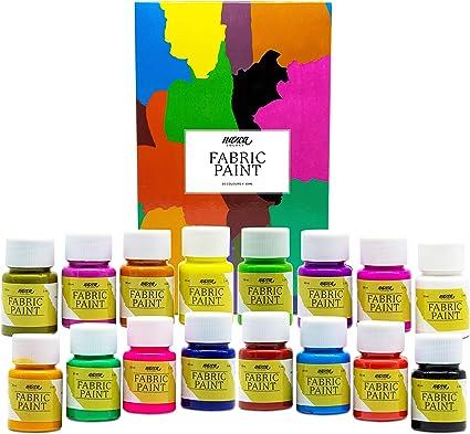 Pintura Textil Permanente y Lavable Nazca Colors – Set 16 Colores x 30ml – Pintura Acrílica para Tela ideal para Pintar Ropa, Camisetas, Vaqueros, ...