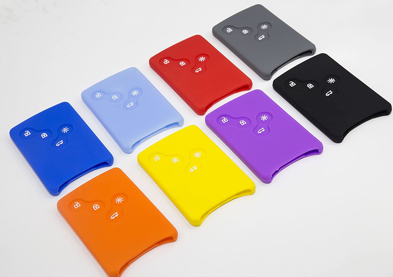 Light Blue 8Colors Silicone Fob Remote Smart Key Case Cover 1EA For Renault Fluence Koleos Latitude 4Button